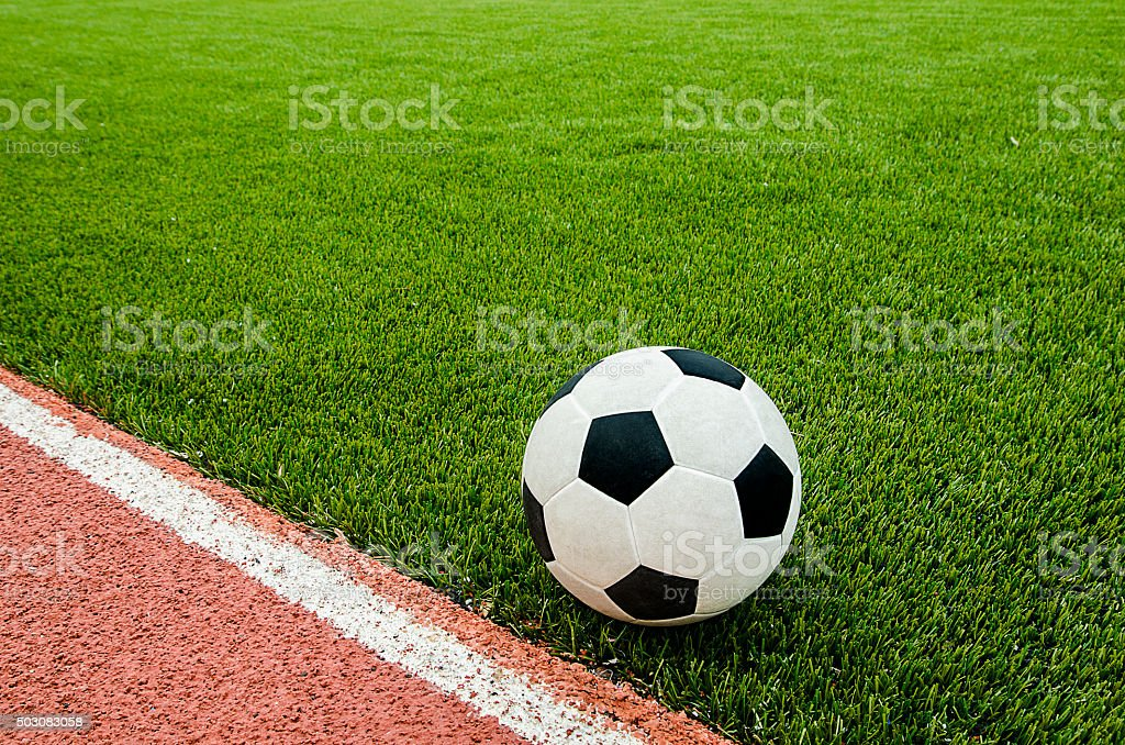 The football near line on the soccer stadium. stock photo