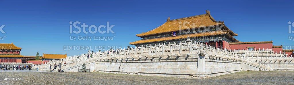 The Forbidden City tourists palaces and pagodas panorama Beijing China stock photo