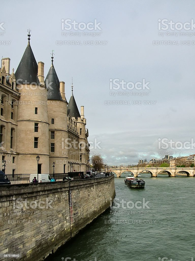 The former prison of the Conciergerie on the banks of the Seine stock photo