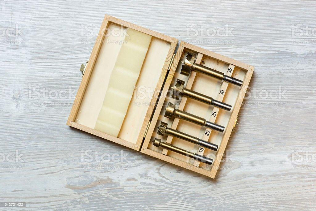 The Forstner drill bits set stock photo