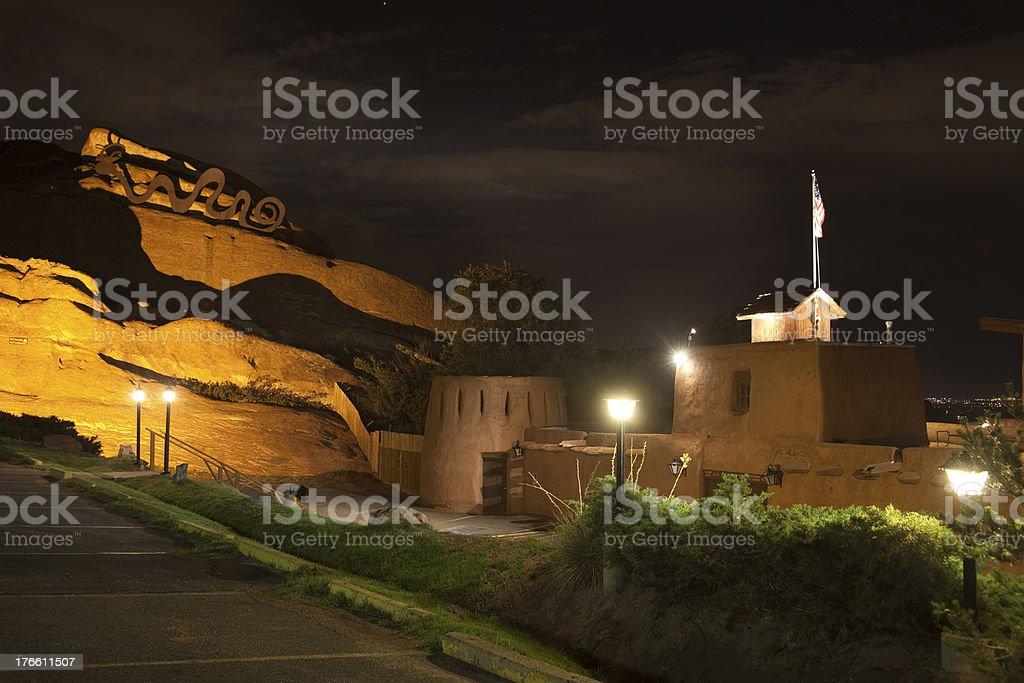 The Fort Restaurant and red rocks Colorado stock photo