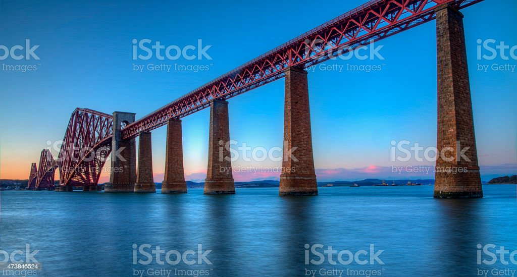 The Forth Bridge at twilight. royalty-free stock photo