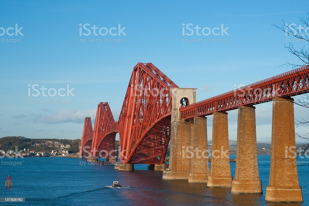 The Forth Bridge, Scotland, almost scaffolding free stock photo