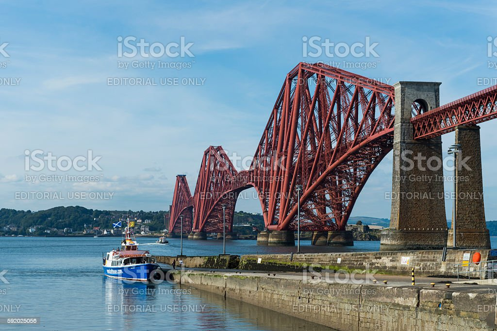 The Forth Bridge spanning the Firth of Forth in Scotland stock photo
