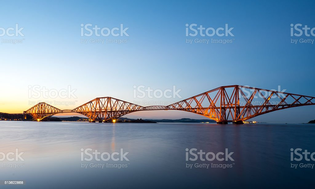 The Forth Rail Bridge after sunset stock photo