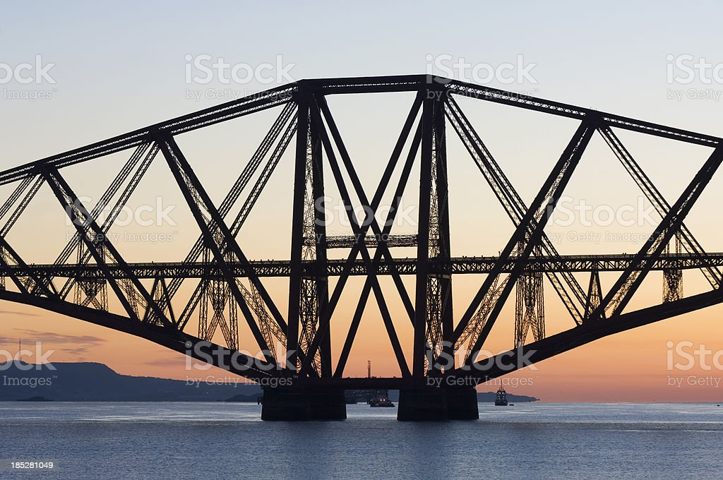 The Forth Rail Bridge at dawn stock photo