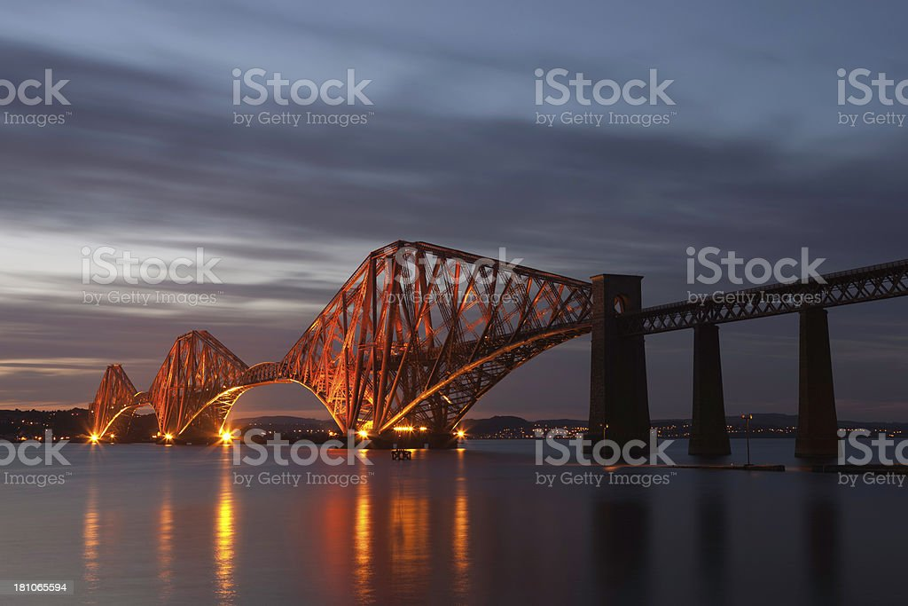 The Forth Rail Bridge At Night. stock photo