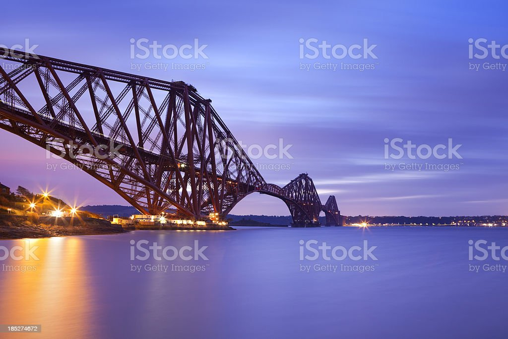 The Forth Rail Bridge near Edinburgh, Scotland at dawn stock photo
