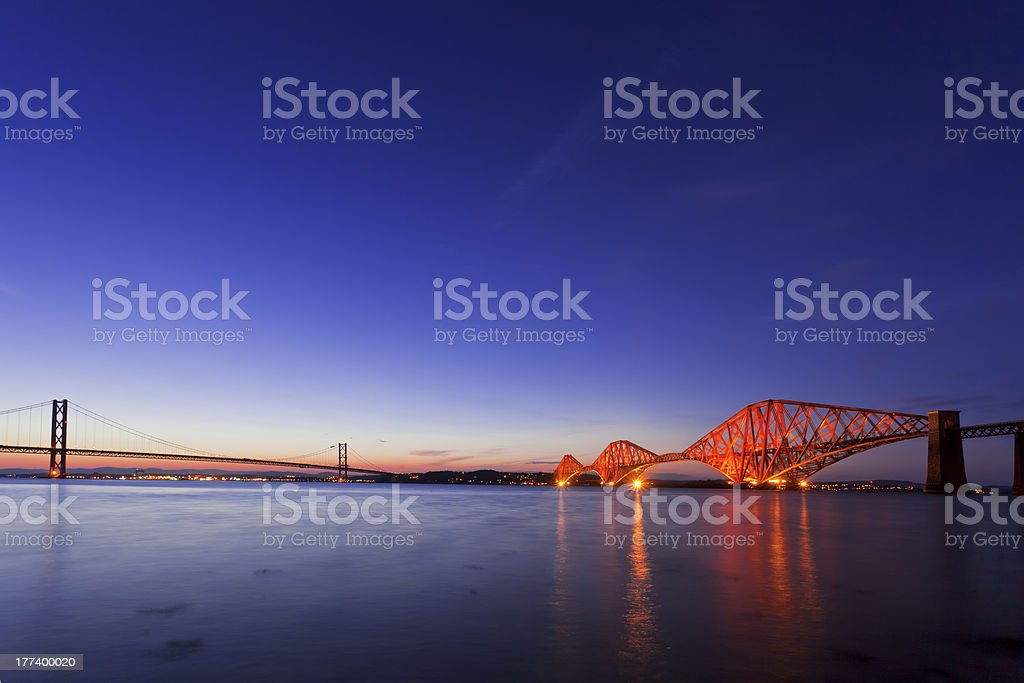 The Forth Road Bridge at dusk in Edinburgh Scotland stock photo