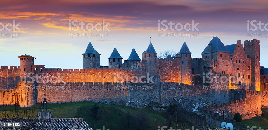 The fortified city in evening.  Carcassonne stock photo