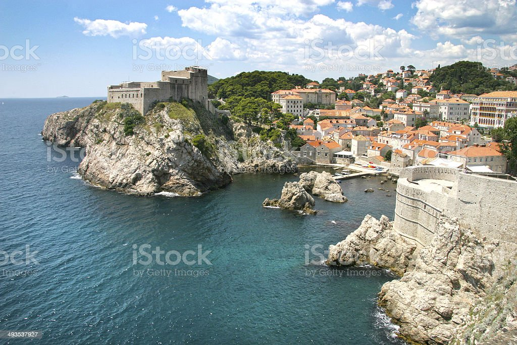 The fortified old town of Dubrovnik from the coast, Croatia. stock photo