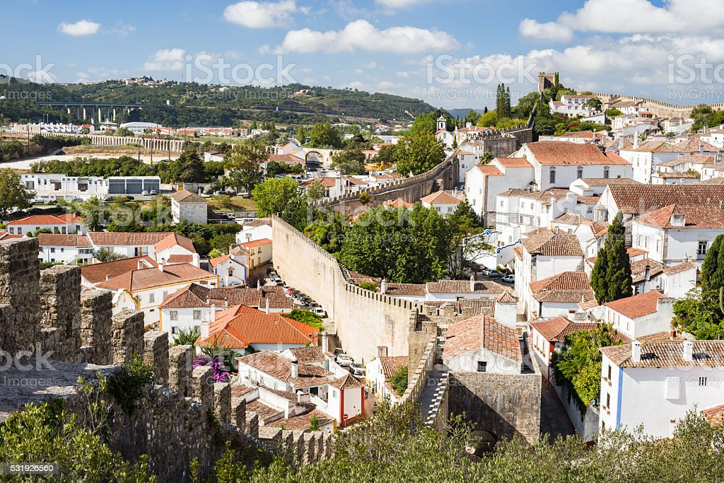 The fortified village Obidos, Portugal stock photo