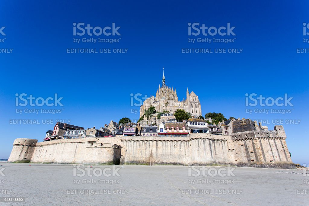 The fortress Mont Saint Michel in France stock photo