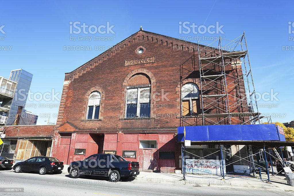 The Forum. Dilapidated Building in Grand Boulevard, Chicago stock photo