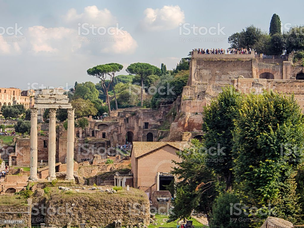 The Forum, Rome, Temple of Saturn and Palatine hill stock photo