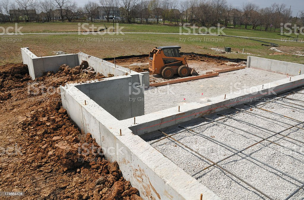 The foundation of a new home is under construction royalty-free stock photo