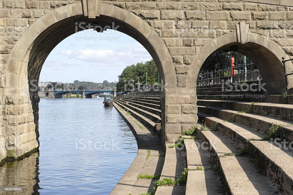 The foundations of Wilford suspension bridge over the River Trent. stock photo