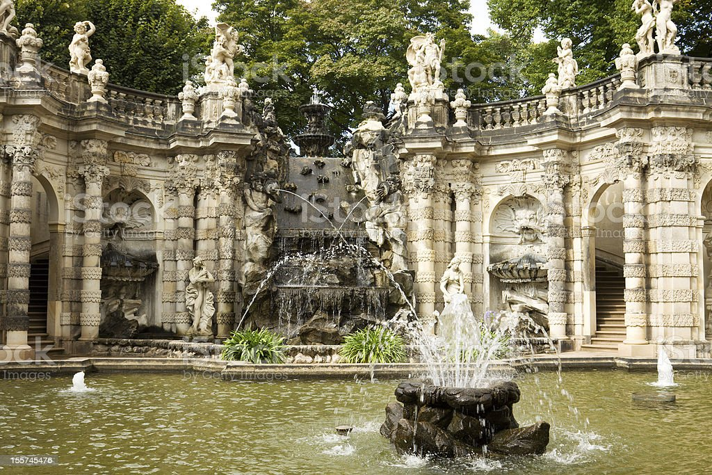 The fountain 'Bath of nymphs' in Zwinger stock photo