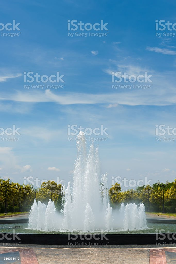 The fountain in a park stock photo