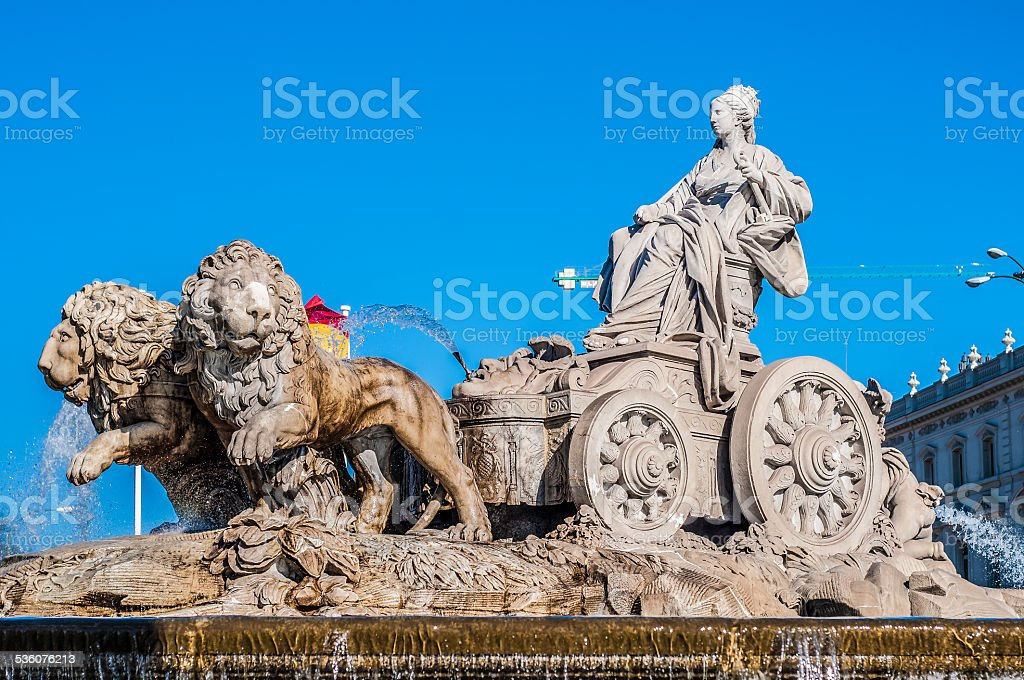 The fountain of Cibeles in Madrid, Spain. stock photo