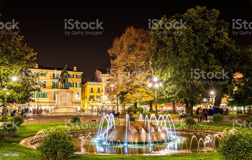 The fountain of the Alps on Piazza Bra in Verona stock photo