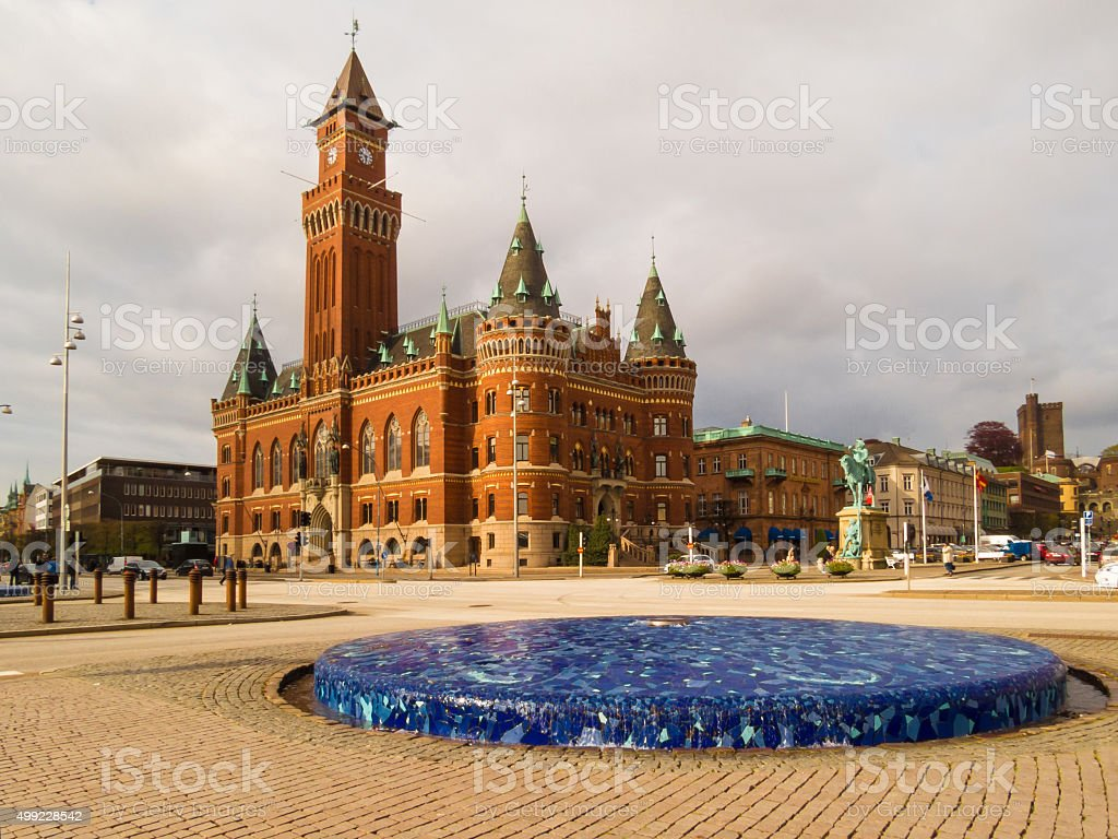The fountain on the embankment and Town Hall, Helsinborg, Sweden stock photo