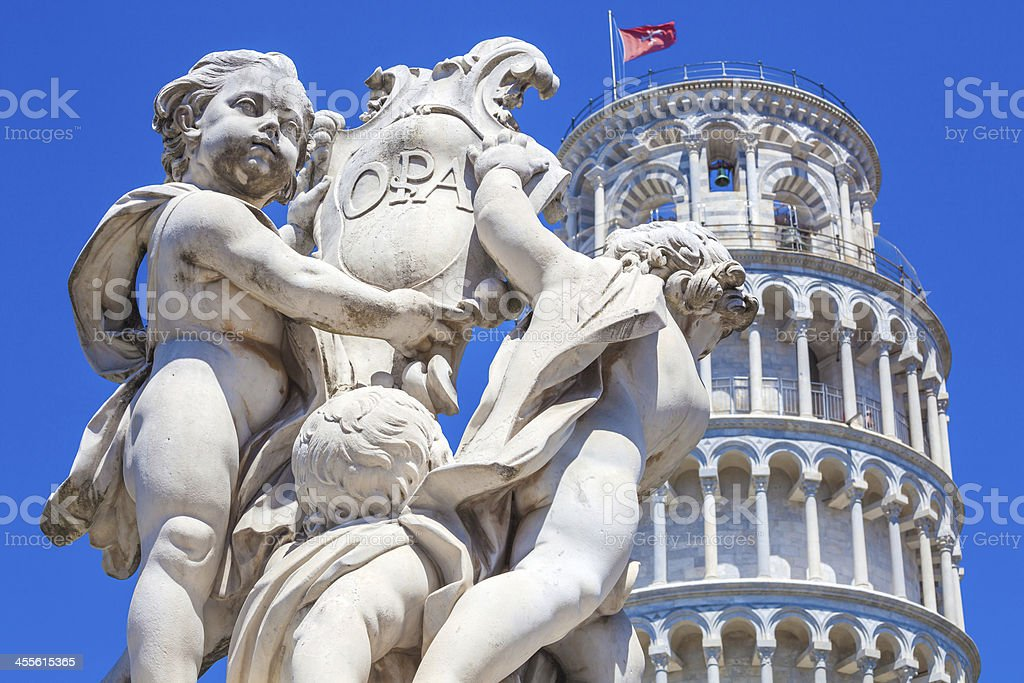 The Fountain with Angels in Pisa royalty-free stock photo