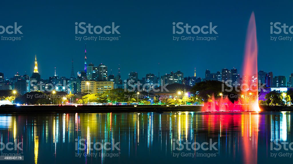 The fountains in Ibirapuera Park stock photo