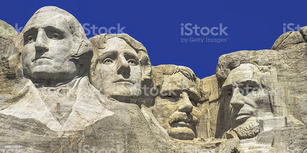The four presidents at Mount Rushmore in South Dakota royalty-free stock photo