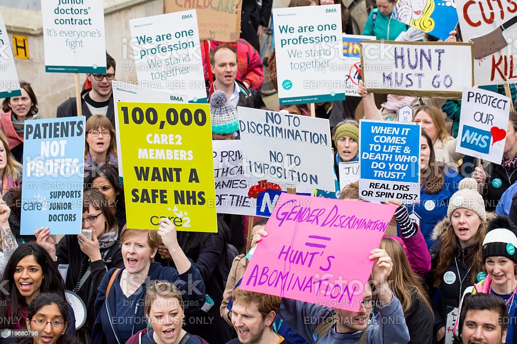 The Fourth Junior Doctors' Strike. stock photo