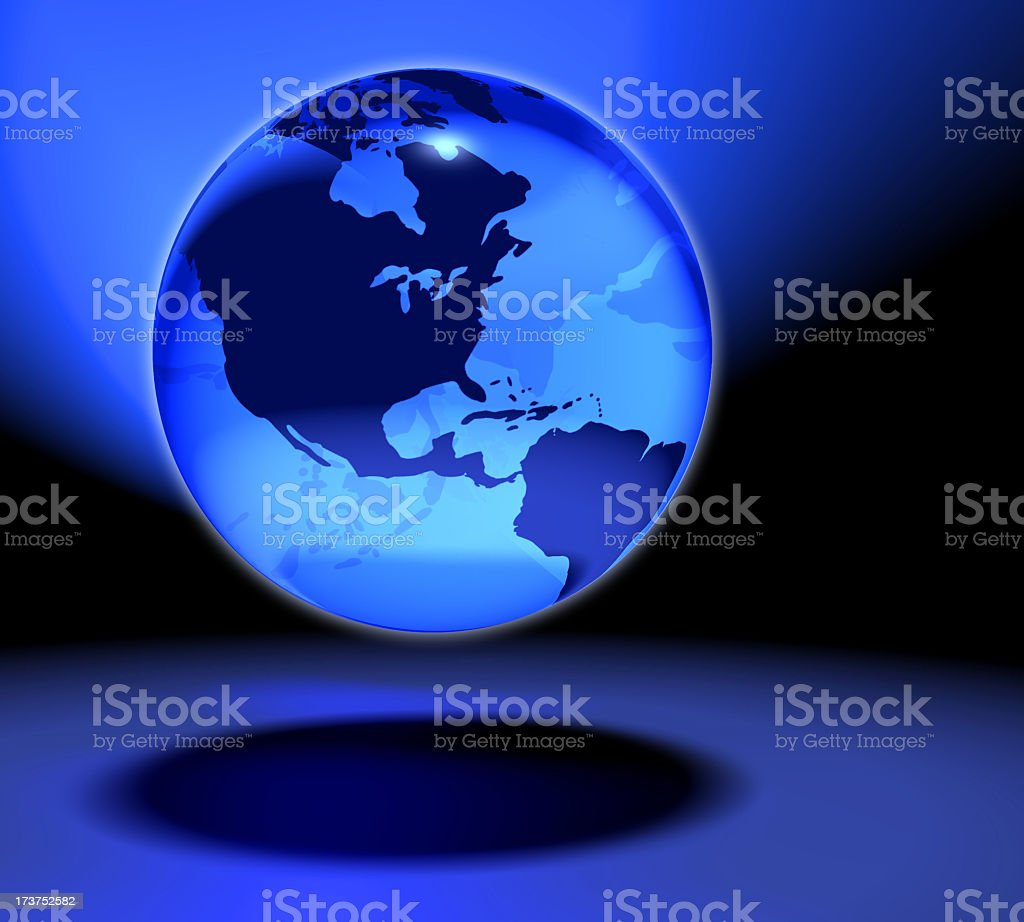 The fragile blue glass marble Earth 1 stock photo