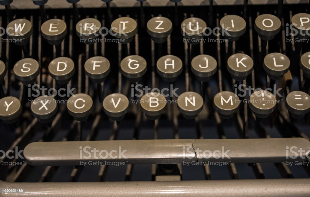 The fragment of an old and vintage typewriter stock photo