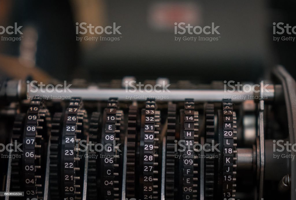 The fragment of old and vintage adding machine stock photo