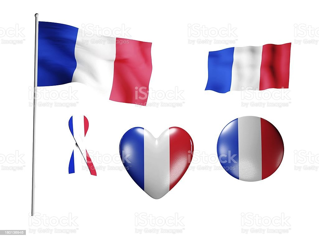 The France flag - set of icons and flags royalty-free stock photo
