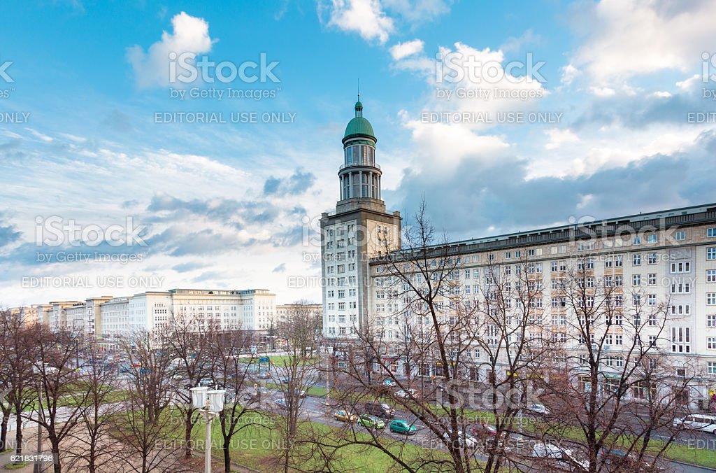 The Frankfurter Tor (Frankfurt Gate) in Berlin stock photo