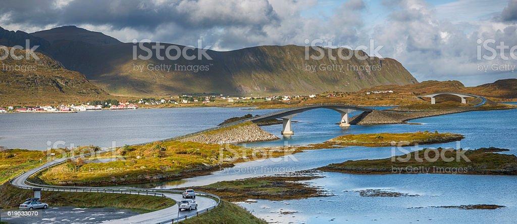The Fredvang Bridges, Lofoten, Norway stock photo