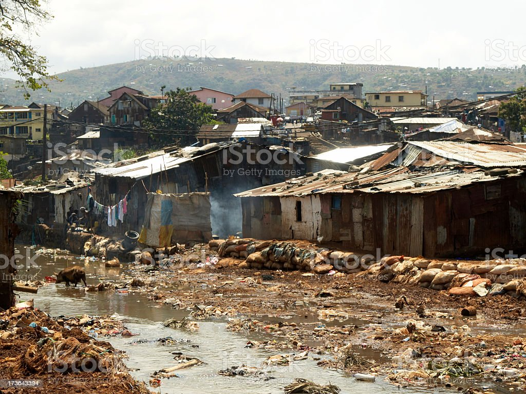 The Freetown slum in Kroo Bay that is suffering a flood stock photo