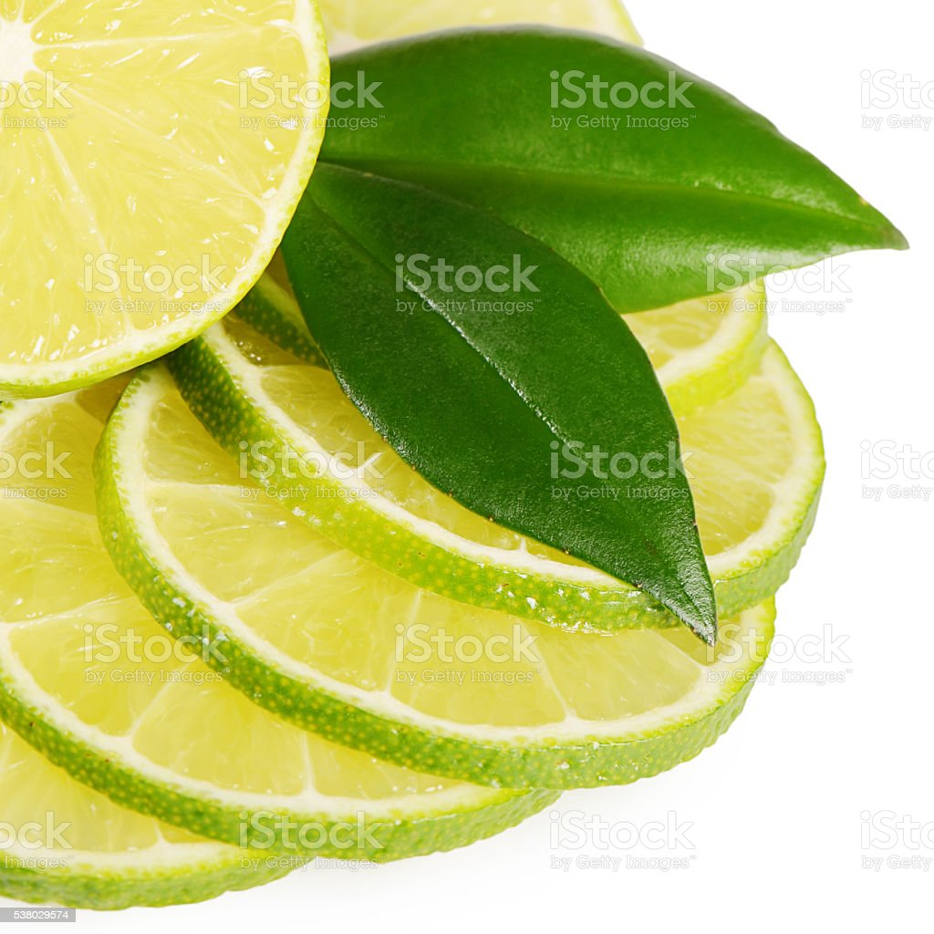 The fresh lime isolated on a white background stock photo