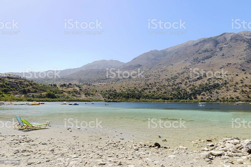 The freshwater lake Kournas. Crete. Greece stock photo