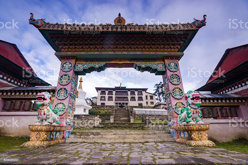 The front gate of the monastery Tengboche. stock photo