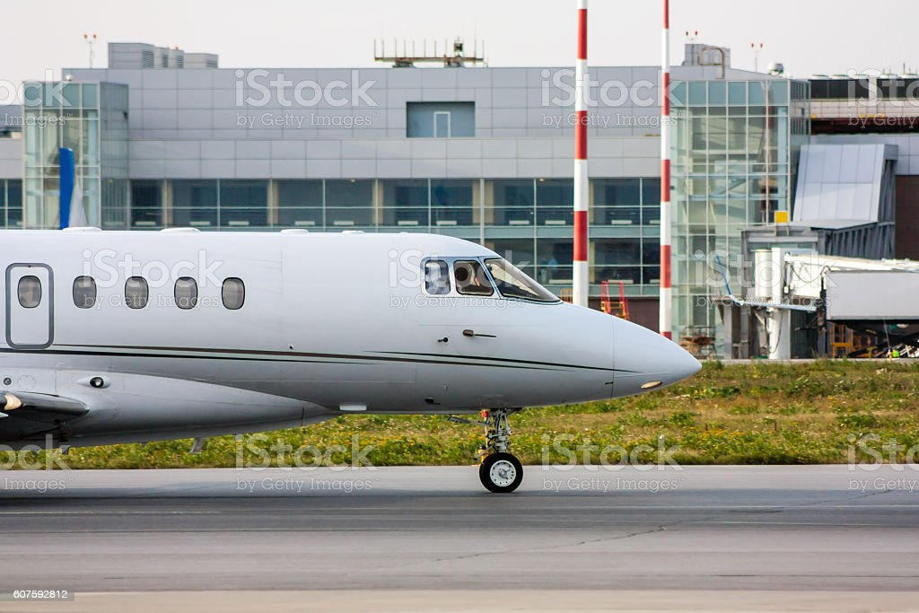 The front of private plane on the taxiway royalty-free stock photo