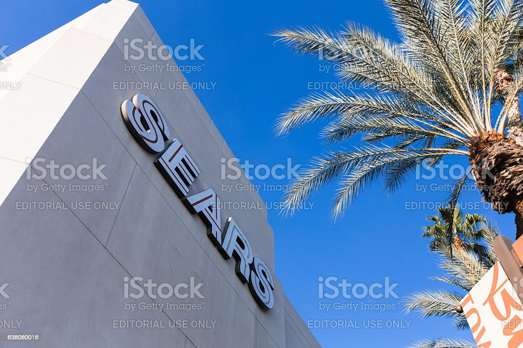 The front of the Sears store inside a mall galleria stock photo