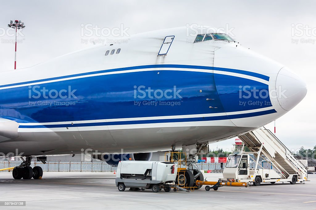 The front of widebody cargo airplane royalty-free stock photo