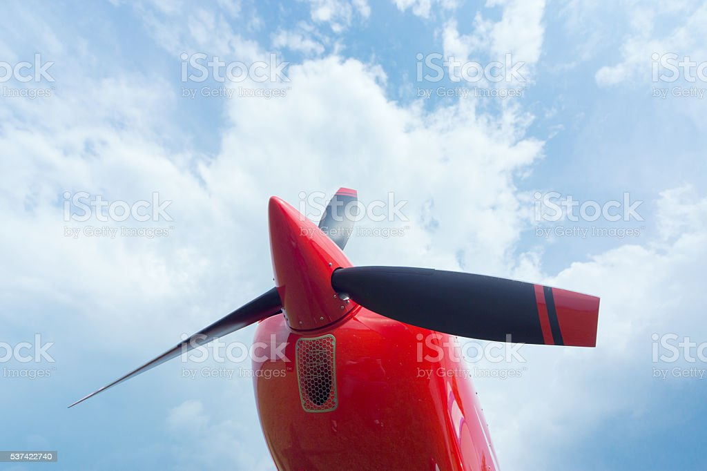 The front part of the aircraft. stock photo