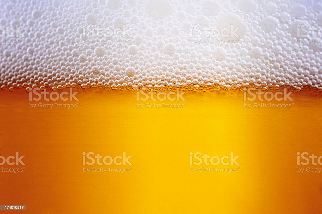The frothy layer that forms on the top of newly-poured beers stock photo