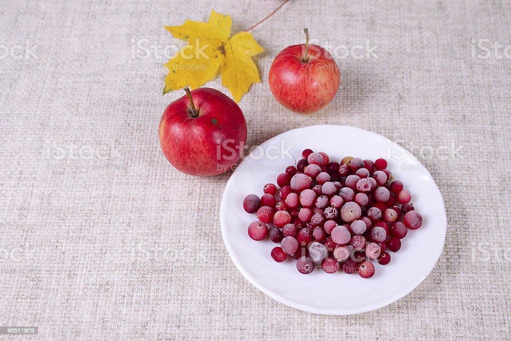 Zamrożone cowberry przed czerwone jabłka zbiór zdjęć royalty-free