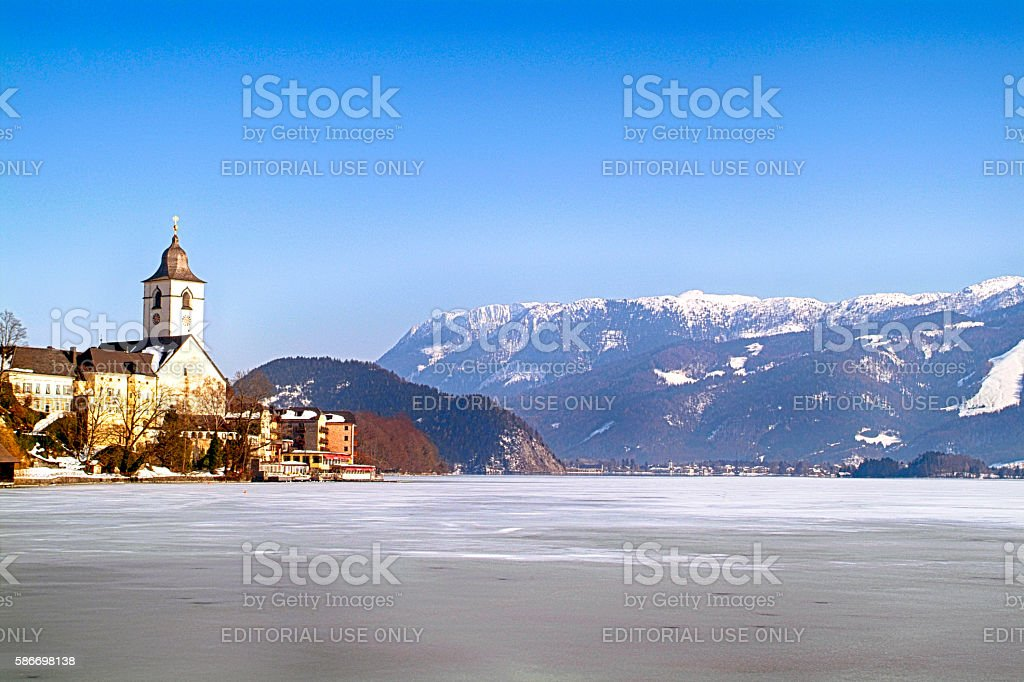 The frozen lake of Wolfgangsee at St. Wolfgang in Austria stock photo