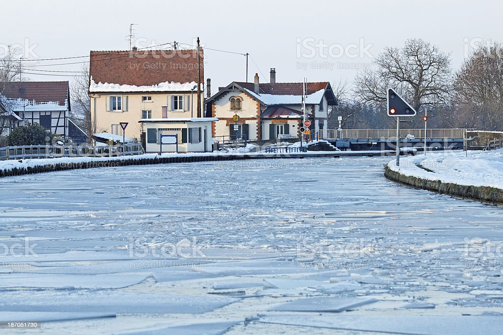 The frozen Marne-Rhine Canal in Alsace, France stock photo