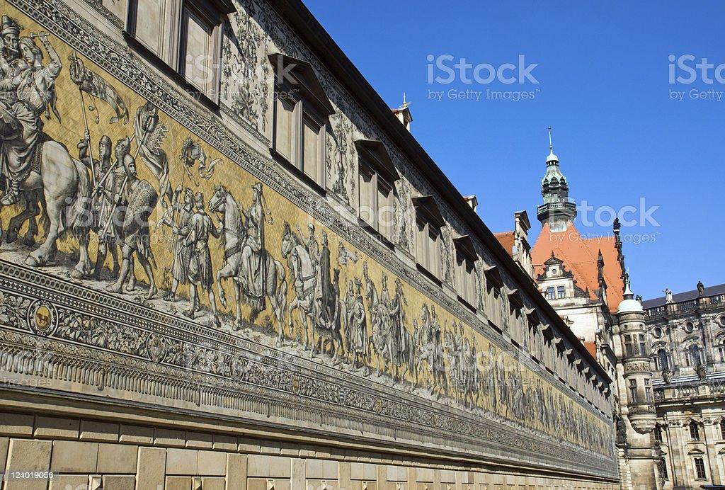 The Fuerstenzug in Dresden stock photo