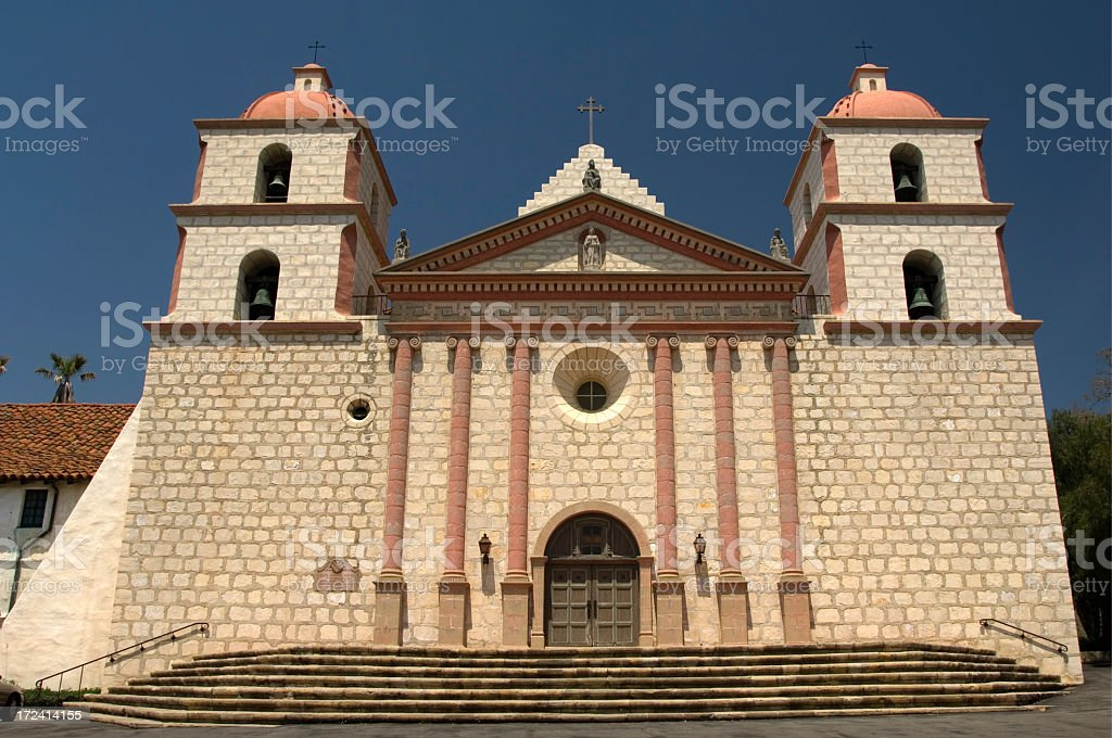 The full front facade of the Mission Santa Barbara building stock photo